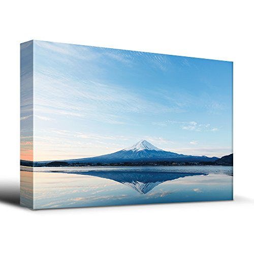 Outdoor Island Sunset Canvas (wall26 Mt. Fuji and reflection on a perfectly smooth lake - Canvas Art Home Decor - 24x36 inches)