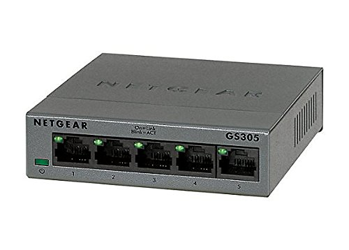 NETGEAR 5-Port Gigabit Ethernet Unmanaged Switch (GS305) - Desktop, Sturdy Metal Fanless Housing
