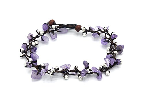 MGD, Purple Amethyst Bead and Silver Bead Anklet, 25 CM w/ 1 Inch Extend 3-Strand Anklet, Beautiful Anklet, Girl Fashion Jewelry, JB-0375A (Amethyst Anklet)