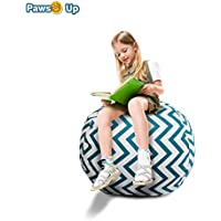 Paws Up Stuff n Sit - Stuffed Animal Storage Bean Bag Cover - Available in 2 Sizes - Сover Only. Stuff, Zip and Sit! (38, Blue Stripe)
