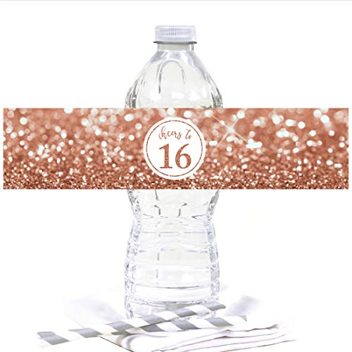 Andaz Press Glitzy Faux Rose Gold Glitter Water Bottle Sticker Labels, Cheers to 16 Years, Sweet 16 16th Birthday or Anniversary, 20-Pack