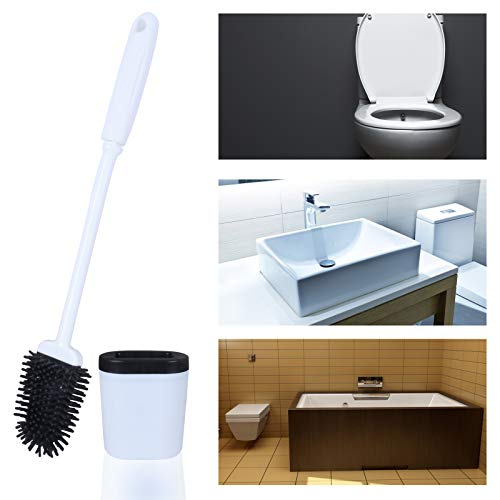 FOOLS ALIBAI Hygienic Toilet Brush Silicone and Holders Upgraded Modern Design, Bathroom Toilet Bowl Brushes with Quick Drying Holder Set (Mounted Wall)