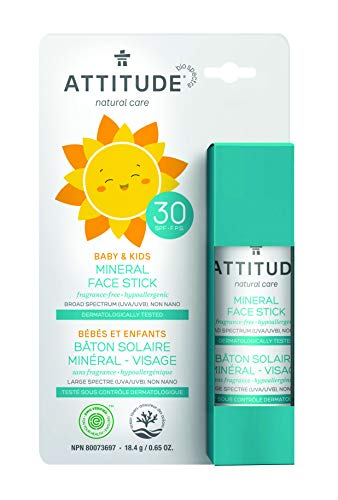 ATTITUDE Natural Care, Hypoallergenic 100% Mineral Face Sunscreen Stick, SPF 30, Fragrance Free, 0.65 oz