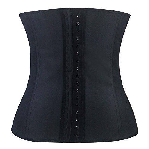 Shaperdiva Women's Waist Cincher Underbust Corsets and Bustiers Latex Girdle Shaper (6XL/Bust 129-134cm Waist 100-104cm, Black)