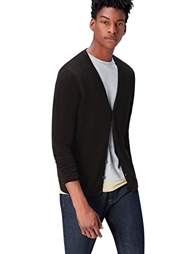 find. Men's Cotton Button Down Cardigan Sweater,  Black, XXL (US XL) ()