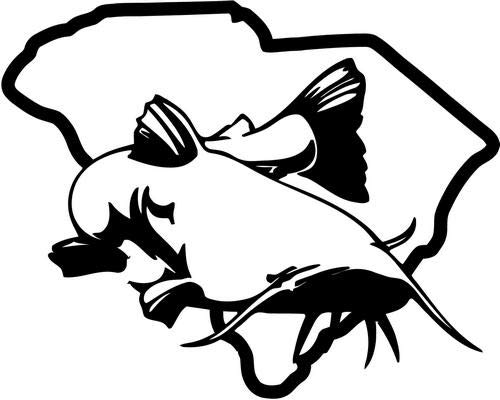 Mandy Graphics South Carolina State Catfish Fishing Vinyl Die Cut Decal Sticker for Car Truck Motorcycle Windows Bumper Wall Home Office Decor Size- [6 inch/15 cm] Wide and Color- Gloss Black