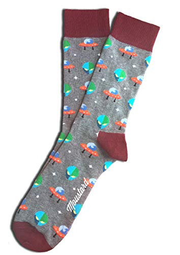 Fun Alien UFO Socks for Men and Women - Crazy Funky Novelty Dress Socks - Premium Cotton - Size 8-12 (One Pair) -