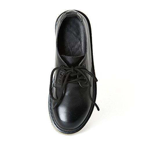 PRENDIMI Scarpe&Scarpe - Schnürschuhe mit Rillen-Sohle, Flache Schuhe Schwarz