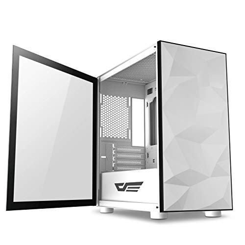 darkFlash Micro ATX Mini ITX Tower MicroATX Computer Case with Wide Open Door Opening Swing Type Tempered Glass Side Panel (DLM21 White)