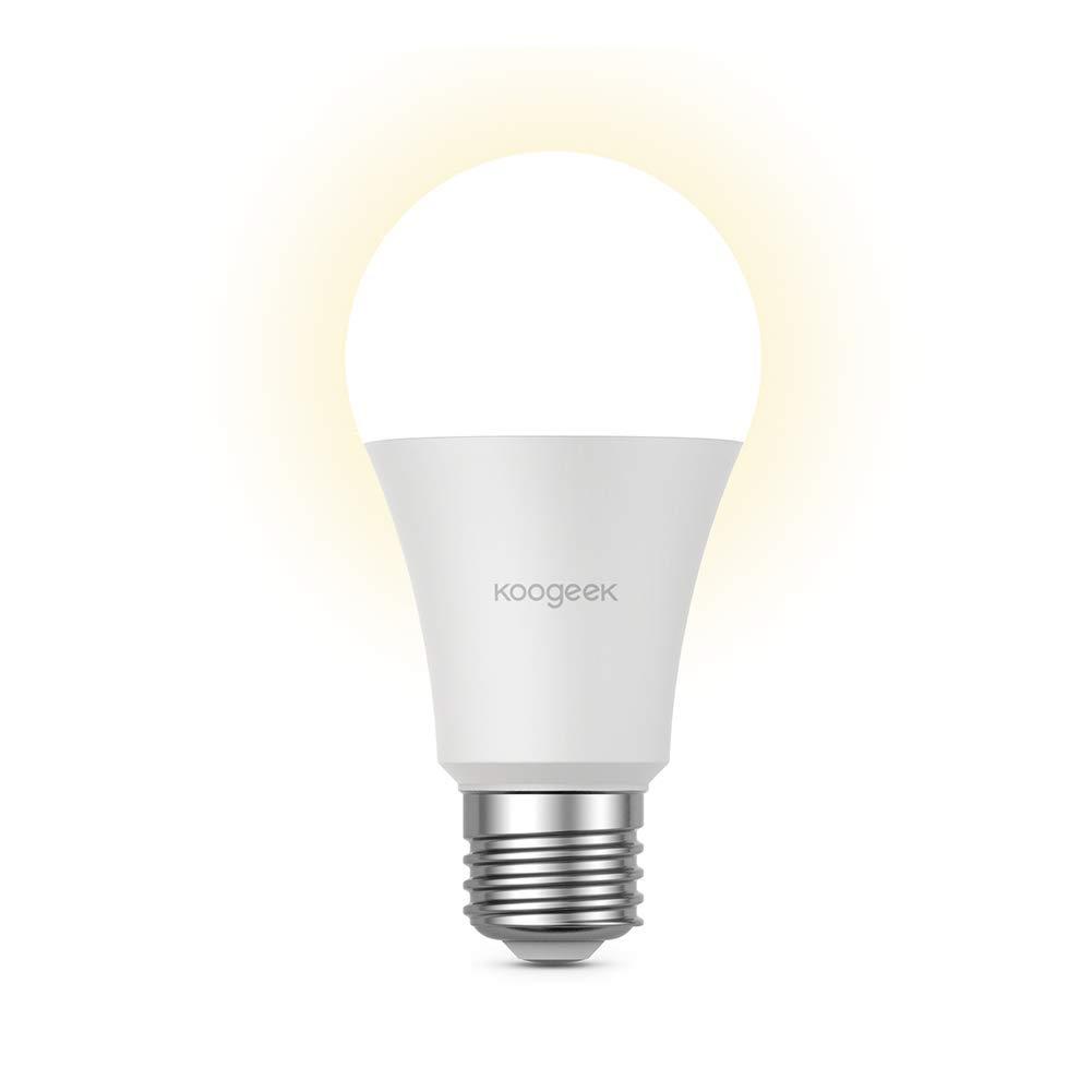 LED電球 Koogeek E26 調光機能付き Wi-Fi スマート電球 7W Alexa Apple HomeKitとGoogle Assistant ハブ不要 リモコン 560LM 3000K カラーETLリスト B07JM3MZLL