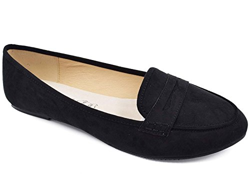 Womens Black Suede Loafers Shoes - Greatonu Women's Black Faux Suede Penny Loafer Flats(10 US)