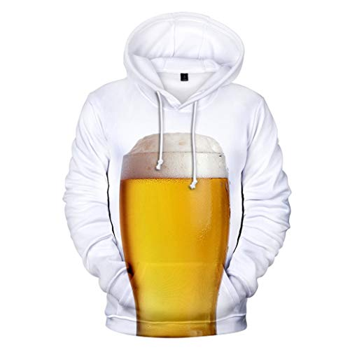 Men's Beer Festival 3D Printing Long Sleeve Hoodies Sweatershirt Tops White -