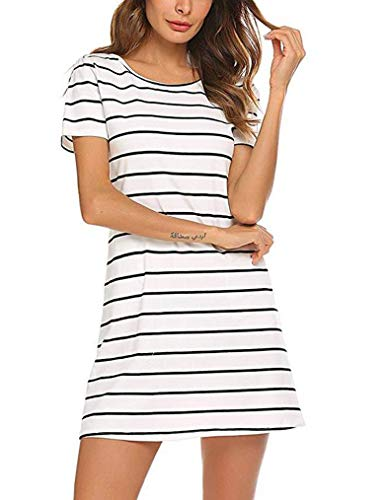 Feager Women's Casual Striped Criss Cross Short Sleeve T Shirt Mini Dress with Pockets (XL, White)