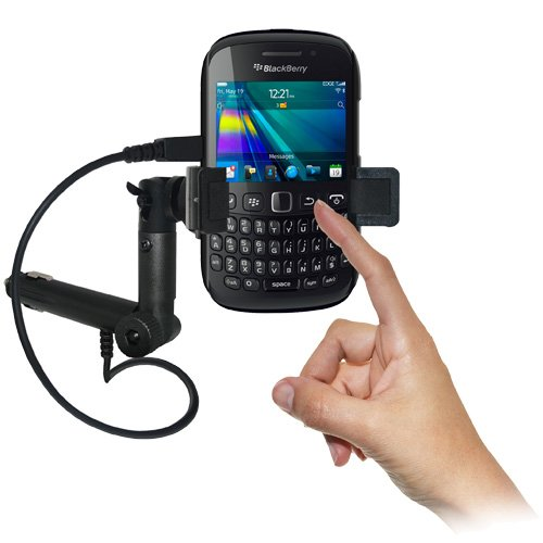 Amzer AMZ94069 Lighter Socket Phone Mount with Charging and Case System for BlackBerry Curve 9220/BlackBerry Curve 9320 - Retail Packaging - Black