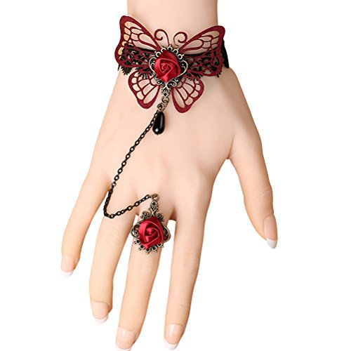 Retro Gothic Lolita Lace Bracelet with Ring Red Butterfly Lace Wristband Slave Bracelets Ring Set - Ring Butterfly Bracelet