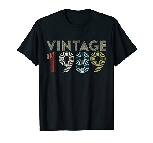 Retro Vintage 1989 TShirt 30th Birthday Gifts 30 Years Old (Birthday Gift Ideas For 30 Year Old Man)