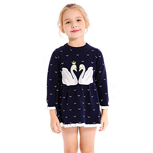 SMILING PINKER Little Girl Sweater Dress Long Sleeve Swan Heart Knit Tunic Pullover (Navy Blue Swan, 2-3t)