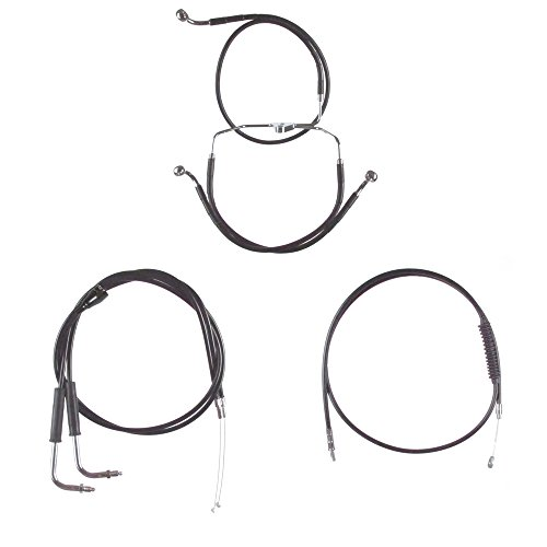 Hill Country Customs Basic Black Cable Brake Line Kit for 22'' Handlebars 2007 Harley-Davidson Touring Models with Cruise Control - HC-CKB11322-BLK by Hill Country Custom Cycles