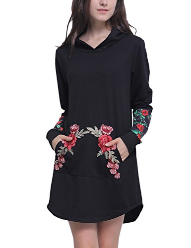 Embroidered Pocket (Blooming Jelly Women's Rose Embroidered Long Sleeve Kangaroo Pocket Pullover Sweatshirt Floral Hoodie Dress(M))