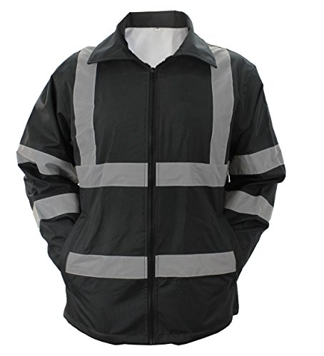 FIRST CLASS HIGH VISIBILITY RAINCOAT WITH REFLECTIVE STRIPES (BLACK) (XL, Black)