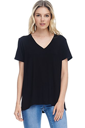 Alexander + David Womens Short Sleeve V-Neck T-Shirt Top Loose Fit Jersey Knit