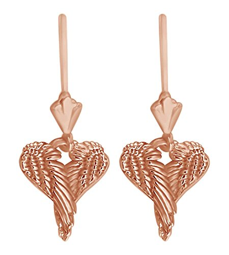 Angel Love Heart Wings Dangle Earrings in 14k Solid Rose Gold by AFFY