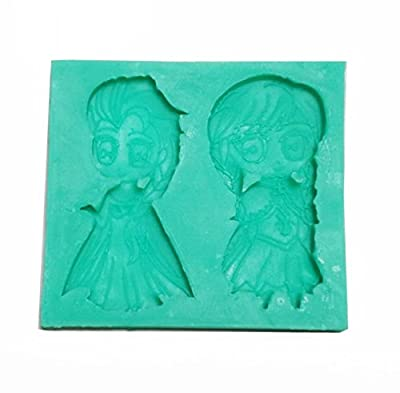 Wocuz W0570 Frozen Sparkle Anna and Elsa Silicone Candy Making Mold Fondant Mold Chocolate Mould Cake Decorating Supplies