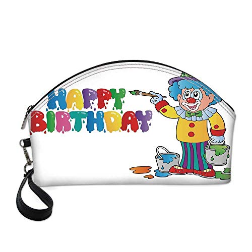Birthday Decorations for Kids Beautiful Women's semi circular cosmetic bag,Happy Clown for Party with Colorful Paint Drawing Buckets For traveling,10.8
