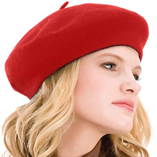Style Wool Red Beret - Kimming Womens Beret 100% Wool French Beret Solid Color Beanie Cap Hat (Red)