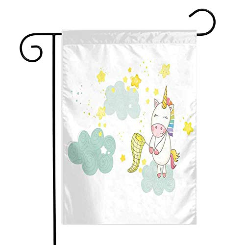 Unicorn Tropical Flower Floral Outdoor Yard FlagBaby Mystic Unicorn Girl Sitting on Fluffy Clouds and Hunting Nursery Image Print Beach Holiday Outdoor Yard Flag W12 x L18 inch Green Yellow