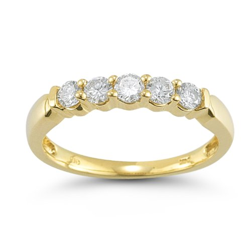 14k Yellow Gold 5-Stone Round Diamond Anniversary Band (1/2 cttw, IJ Color, I1-I2 Clarity), Size 6