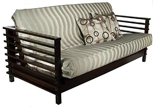 Strata Furniture Orion Black Walnut Full Wall Hugger Futon Frame