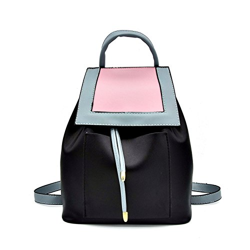 Pu Travel Lady School Bagback Donna Black Patchwork Adolescente Chopstick Casual String Bag Leather Ragazze 5UFqvY