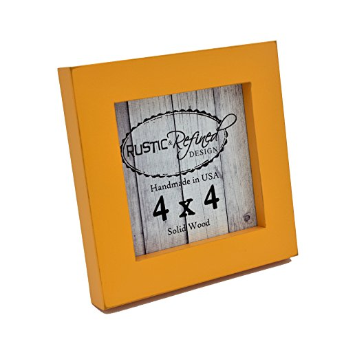 4x4 Solid Wood Made in USA Picture Frame with 1 Inch Border (Gallery Collection) - (Orange Wall Border)