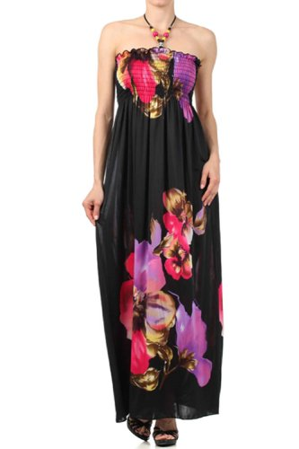 Sakkas FOBlackFloral86A-7931 Floral on Solid Black Graphic Print Beaded Halter Smocked Bodice Long / Maxi Dress - Purple / - Shops Outlet In Las Vegas