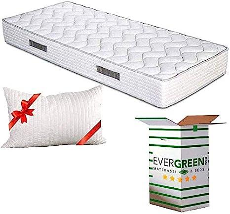 Evergreenweb - Colchón ortopédico Fashion de espuma de poliuretano o viscoelástica, 20 cm de alto, con almohadas, efecto masaje, tejido transpirable ...