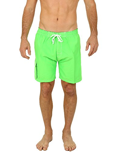 Uzzi Men's Solid Color Barracuda Boardshorts Swim Trunks 1969 Neon Green S