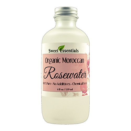 Premium Organic Moroccan Rose Water - 4oz Glass Bottle - Imported From Morocco - 100% Pure (Food Grade) Perfect for Reviving, Hydrating and Rejuvenating Your Face and Neck - By Sweet Essentials (Petal Fragrance And Hair Pure)