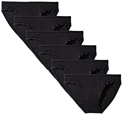 Amazon Essentials Women's Cotton Stretch Hi-Cut Brief Panty, 6-Pack, Black, X-Large