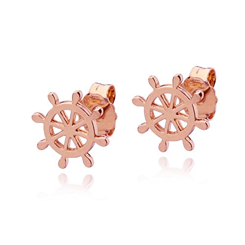 14k Rose Gold Ship Wheel Stud Earrings Rudder Helm post Sailor Boat Nautical Jewelry