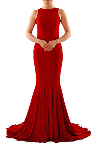 Jersey Formal Dress Mermaid MACloth Long Fuchsia Gown Boat Women Neck Evening Lace Prom XwFcxOSUyq