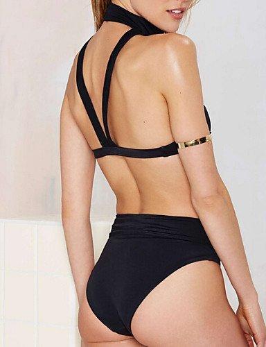 ZQ de la mujer Halter Bikinis, sólido de alta Rise/inalámbrico/SUJETADOR de acolchado de nailon negro, black-xl, extra-large black-xl