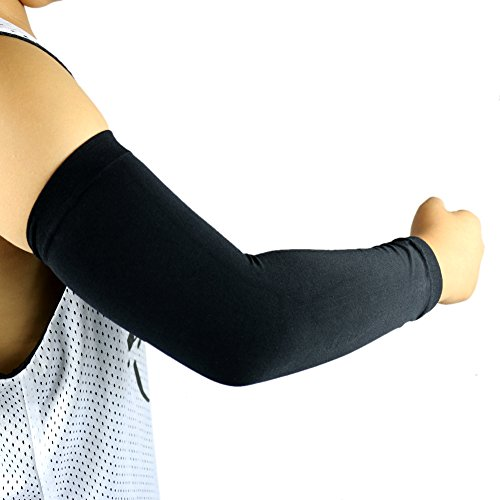 2 Pairs, Child Kids Boys Girls Youth Anti-Slip Arm Sleeves Cover Skin UV Protection Sports Stretch Basketball Running Cycling, Gray, Black by Scorpion (Image #4)