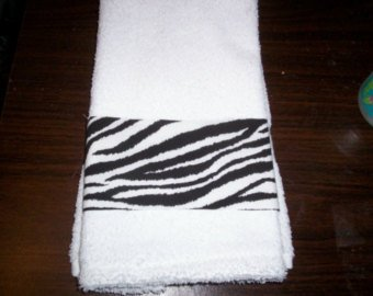 New HandMade wild black white Zebra stripes Guest Hand Towel