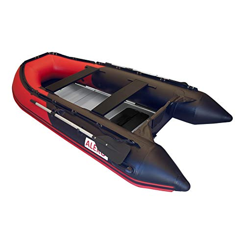 - ALEKO BT320RBK 10.5 Foot Inflatable Boat with Aluminum Floor Heavy Duty Design 4 Person Raft Sport Motor Fishing Boat 3 Keel Air Chambers Red and Black