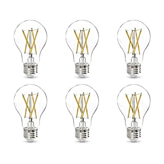 AmazonBasics 60W Equivalent, Clear, Daylight, Dimmable, CEC Compliant, A19 LED Light Bulb   6-Pack