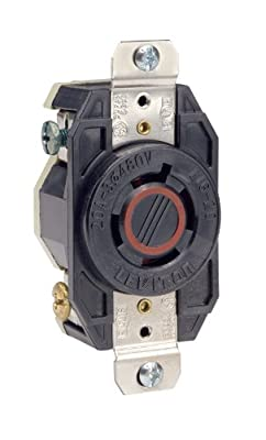 Leviton 2430 20-Amp, 480-Volt- 3PY, Flush Mounting Locking Receptacle, Industrial Grade, Grounding, V-0-MAX, Black