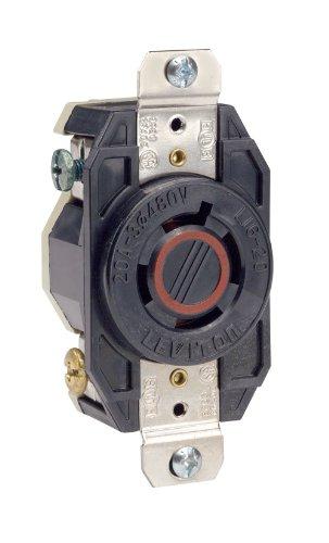 Leviton 2430 20-Amp, 480-Volt- 3PY, Flush Mounting Locking Receptacle, Industrial Grade, Grounding, V-0-MAX, Black