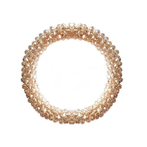 T-Doreen Champagne Crystal Stretch Bracelet for Women Girls Gemstone Beaded Boho Statement Bracelet