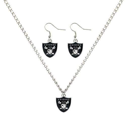 aminco NFL Oakland Raiders Necklace and Dangle Earring Set by aminco